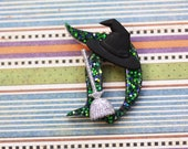 Disney D Pin - Black and Green Classic Disney D Pin - Halloween Disney D Brooch -  Witches Hat and Broom Disney D Brooch