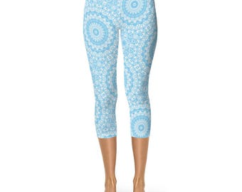 Capri Yoga Pants Mustard Yellow and Blue Leggings Mandala
