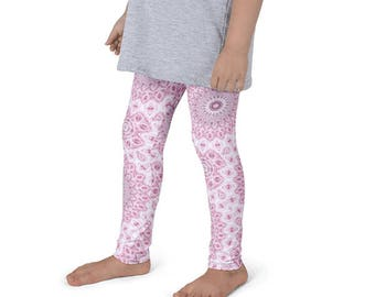 Girls Pink Leggings, Kids Yoga Leggings, Yoga Pants, Children's Pink and Gray Activewear