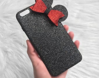 Minnie mouse phone case, Minnie mouse ears iphone case, Disney iphone case, Minnie mouse glitter phone case