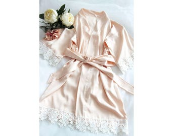 Champagne Satin Baby Women Kimono Robe(with lace trims)-Champagne Bridesmaid Flower Girl Kimono Robe-bridesmaid Gift-flower girl Gift