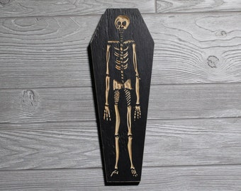 skeleton coffin carved in wood wall art weird home decor macabre skull