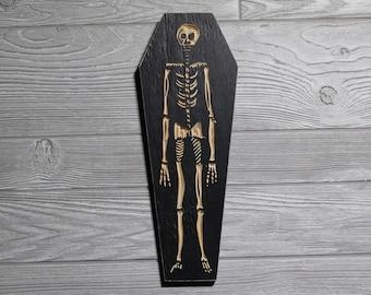 Skeleton Coffin | Carved in Wood Wall Art | Weird Home Decor | Macabre | Skull | Bones | Halloween | Creepy | Woodcut Halloween Decorations