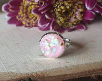 pink opal statement ring, gift for her