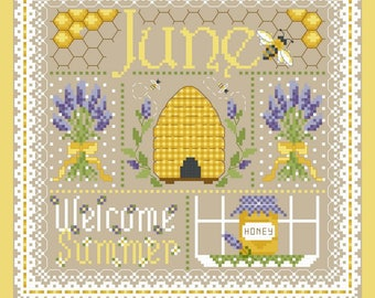 June Monthly Sampler Cross Stich Chart PDF