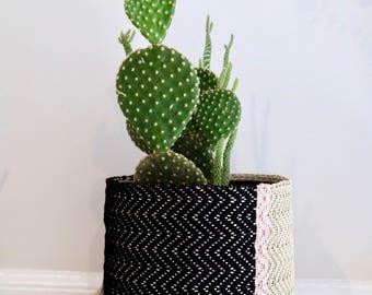 Medium Handoven Hemp Basket in Black, Pink & Natural