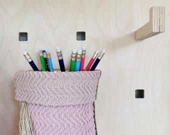 Small Handoven Hemp Basket in Pink, Khaki & Natural