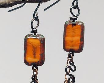 Fire orange Swarovski crystal earrings
