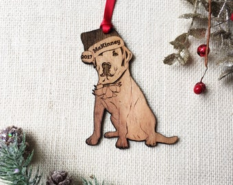 Labrador personalized Christmas Ornament - Yellow Lab - custom pet gift for dog lover - pet remembrance gift - puppy's first Christmas