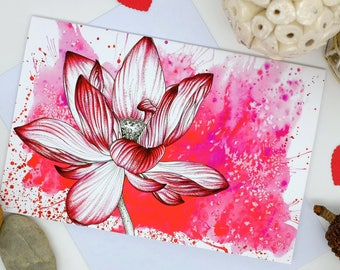 Lotus Flower, Red Flowers, Valentines Card, Love Card, Girlfriend Gift, Spiritual Art, Flower Cards, Blank Cards, Anniversary Card