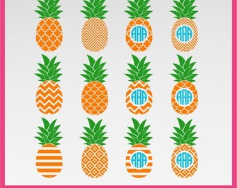 Pineapple SVG, Pineapple Monogram Frame Svg, DXF, PNG Formats 0058