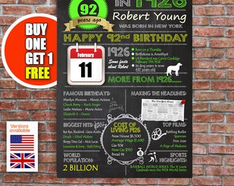 92nd birthday gift, 92 years old, personalised 92nd present, UK or USA birthday print
