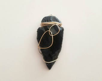 Obsidian Arrowhead Black Pendant Gold Wire Wrapped Crystal Jewelry Boho Tribal