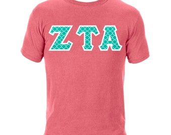Quatrefoil Greek Letter Shirt-Comfort Colors