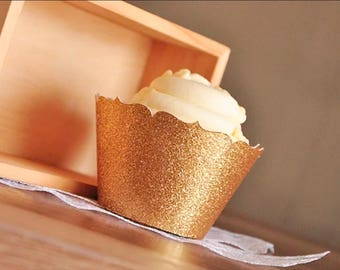 Gold Glitter Cupcake Wrappers • Gold Cupcake Liners • Cupcake Toppers • Bridal Shower Decor • Birthday Decor •  Gold Party Decor