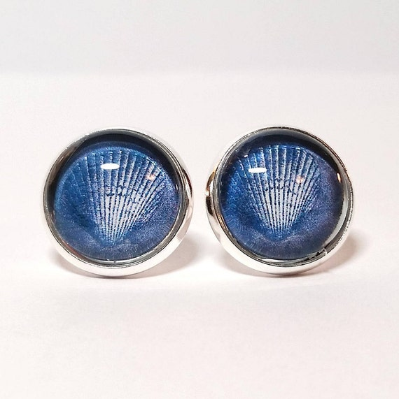 WHOLESALE-Nautical Denim Earrings, Available in silver, bronze or rose gold, Stud or French Wire