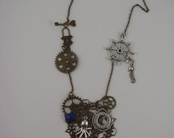 Steampunk necklace with gears, Octopus, seahorse, navigation bar