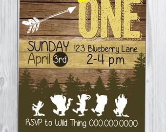 Where The Wild Things Woodland Themed Birthday Invitation