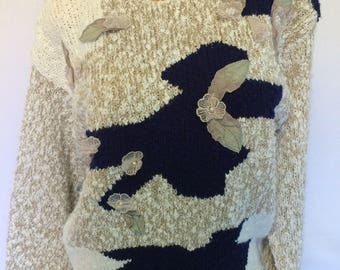 Vintage sweater grandma sweater ugly sweater Size M 80s 90s