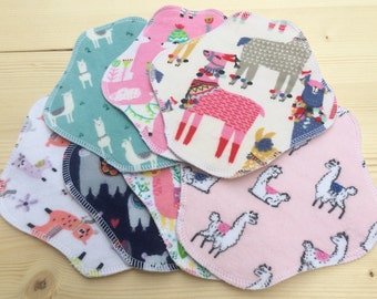 Llamas, Reusable Cloth Pantyliners, Panty Liners, 100% Cotton Flannel, 2 Sizes, 7-Pack, Winged