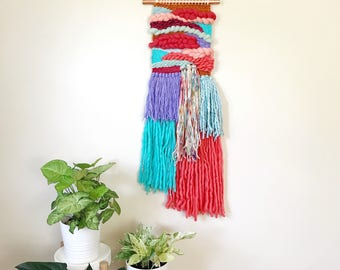 Wall Hanging Weaving, Colorful Home Decor, Nursery Wall Art, Woven Wall Hanging, Loom Weaving, Jungalow Style, Textile Wall Hanging