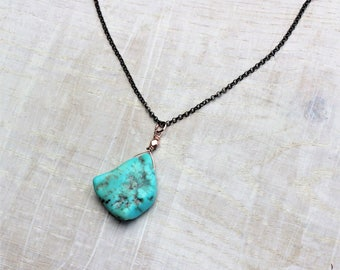 Rough Turquoise Jewelry Raw Turquoise Necklace Oxidised Silver Rose Gold Rough December Birthstone Necklace, Dainty Raw Turquoise Jewelry