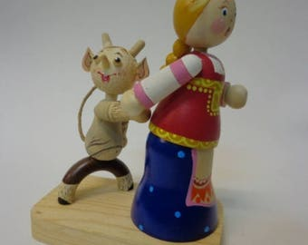 "Composition from a tree ""The devil seduces"". Wooden figurines. Collection from a tree. Collection of wooden toys The Russian toy from a tree"