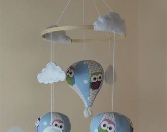 Sale !  Clarke and Clarke Owl hot air balloon baby boy/ girl mobile