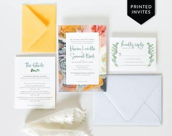 Succulent Wedding Invites - Floral Invitations - Bright and Bold - Eucalyptus Wedding Invitations - Southwestern - Custom Printed - Painted