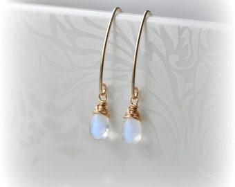 Moonstone Earrings Gold Threader Earrings Rainbow Moonstone Dangle Earrings Thread June Birthstone Earrings Moonstone Jewelry Gift for Her
