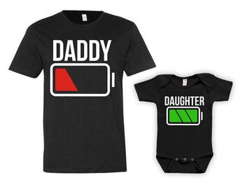 Daddy And Me Clothing Dad And Daughter Matching Set Daddy Daughter Shirt Father And Daughter Gift Battery Low Full Bodysuit - JM212-211