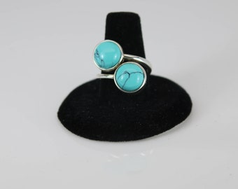 TURQUOISE DOUBLE STONE - Ring Size 7 - Sterling Silver - Handcrafted - Free Shipping