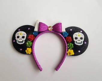 "Handmade ""Day of the Dead"" inspired mouse ears. ""Dia de Los Muertos"" doll sized mouse ears sized to fit an 18 inch doll."