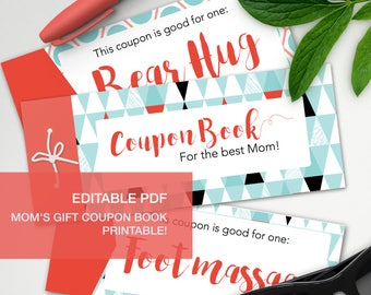Editable gift coupon book for mothers - A4 - printable, print at home, digital prints - mother's day mum