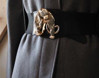 Belt Leopard leather and elastic loop, the 80's / / Vintage Jaguar Belt