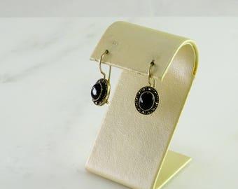 Onyx Marcasite Sterling Pierced Earrings