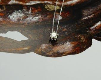 "1/2 ct Diamond Solitaire Necklace 14K White Gold 17"" Chain"