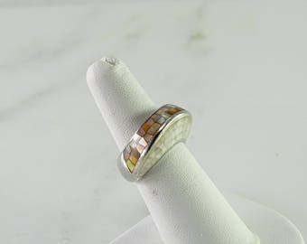 Mosaic Sterling Ring Size 6.5