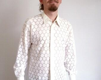 70s shirt Vintage white Transparent Groovy Party Dots Woven Long sleeve shirt Boho Hippie Sixties Wedding shirt medium large