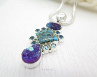 Copper Turquoise Purple Drusy and Blue Topaz Sterling Silver Pendant and Chain