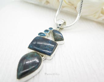 Chrysocolla and Blue Topaz Sterling Silver Pendant and Chain