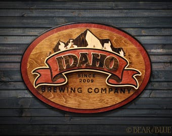 Idaho Brewing Company Pub Sign of Layered Birch (Two Sizes & Two Colors Available)