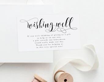 Printable Wedding Wishing Well Card, Printable Wishing Well Insert, Wishing Well Printable, Wedding Insert, Wish Well