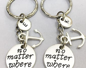 Set of 2,Long Distance Gift, No Matter Where, Initial Keychain, Engraved Keychains, Best Friend For 2, Distance Relationship,Keychain, Gift