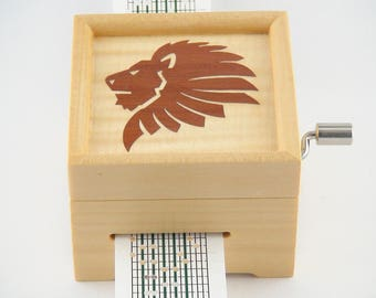 15 Note hand Crank Paper Strip Music Box with Marquetry Inlay, DIY your Own Tunes, Personalisation or Customisation Available