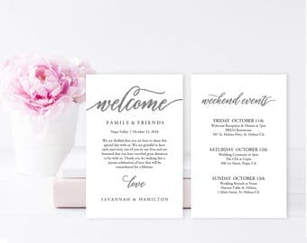 Wedding Welcome Bag Note, SILVER Wedding Calligraphy, Welcome Bag Letter, Printable Wedding Itinerary, Agenda | 4x6"