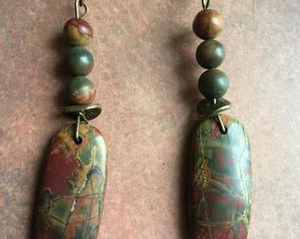 Beautiful bold piccasso  jasper stone earrings