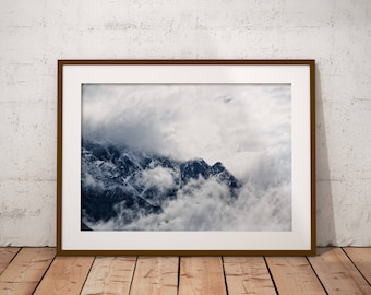 Shelves Decor, Mountain Range, Affiche Scandinave, Foggy, Nordic Mountain, Above Bed, Foggy Print, Foggy Art Print, Large Mountain Print