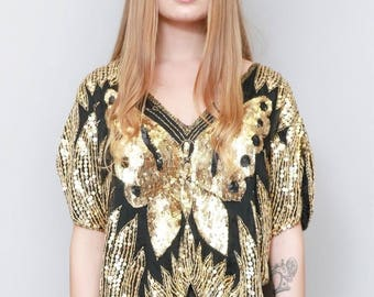 Vintage 1970's Sparkly Black And Gold Sequin Butterfly Top
