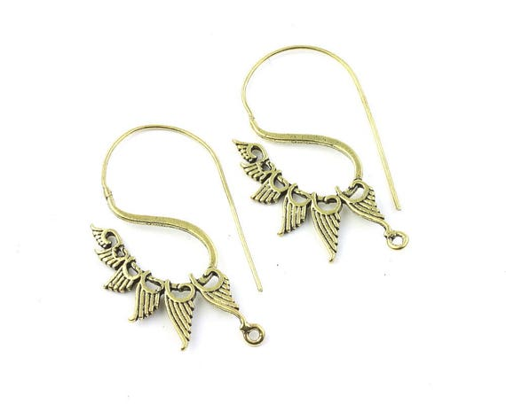 Angel Wing Earrings, Tribal Earrings, Spiral Brass Earrings, Festival Earrings, Gypsy Earrings, Ethnic Earrings